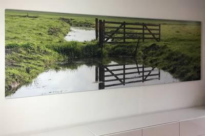 Foto verlijmd achter acrylaat 30x150 cm